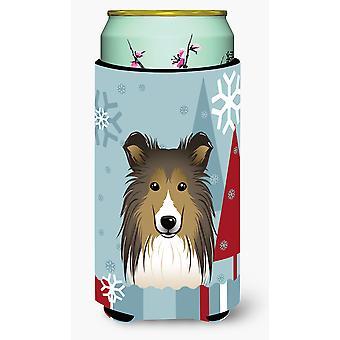 Winter Holiday Sheltie Tall Boy Beverage Insulator Hugger