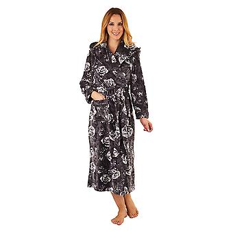 Slenderella GL8746 Women's Grey Floral Robe Long Sleeve Dressing Gown