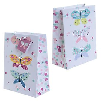 Decorative Butterfly Design Medium Glossy Gift Bag