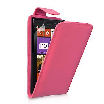 Nokia Lumia 925 Leather-Effect Flip Case - Hot Pink