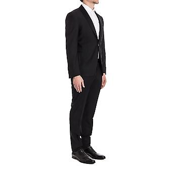 Canali men's 30110108R Black wool suit