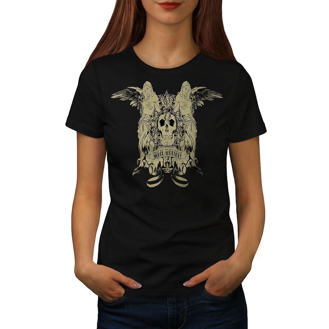 Sinful Thought Sexy Skull Women Black T-shirt | Wellcoda