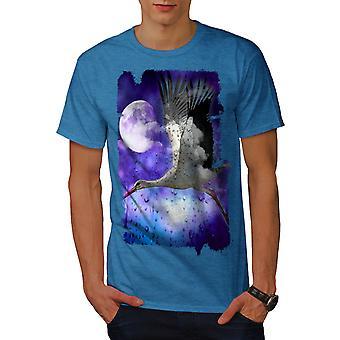Stork Space Moon Men Royal BlueT-shirt | Wellcoda