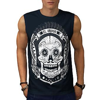 Mexican Skull Death Men NavySleeveless T-shirt | Wellcoda