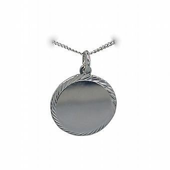Silver 20mm round diamond cut edge Disc with a curb Chain 18 inches