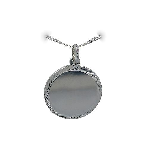 Silver 20mm round diamond cut edge Disc with a curb Chain 20 inches
