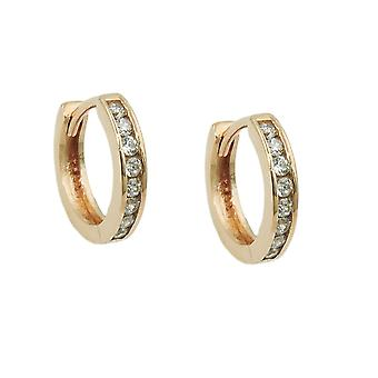 Hoop earrings 11mm zirconias 9k gold