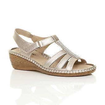Ajvani womens låg mitten av kil klack diamante strappy slingback comfort sandaler
