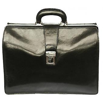 David Van Hagen Top Frame Briefcase - Black