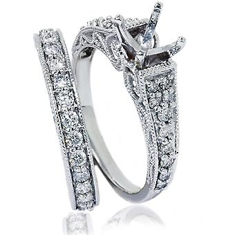 3 / 4ct Винтаж алмазов кольцо реликвией филигрань набор 14K Белое золото