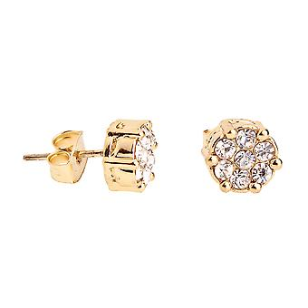 Iced out bling earrings box - CLUSTER 8 mm gold