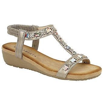 Ladies Womens Jewelled Sling Back Low Wedge Slip On Sandals Shoes