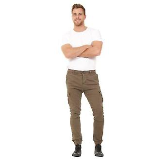 Men's Cargo Trousers - Green Slim Fit  Elasticated at ankle