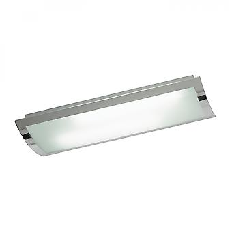 Chrome Effect Plate & Frosted Glass 675mm Rectangle Flush HF 36W