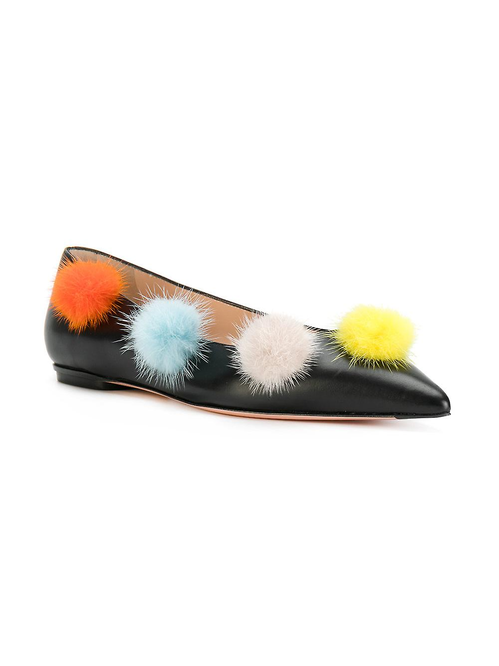 Fendi Women's Ballerina Leather Pom-Pom Ballerina Women's Flat Shoes Black 025fd7