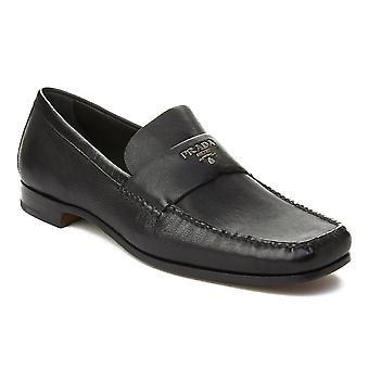 Prada Men's Leather Logo Penny Loafer Shoes Black