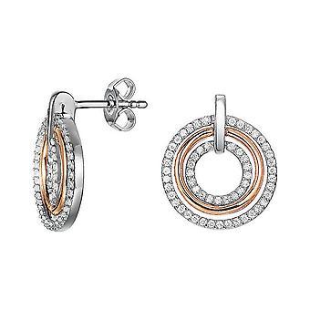 ESPRIT женщин серебряные серьги розовое цирконий кружочков ESER92880D000