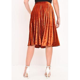 Velvet Pleated Midi Skirt Dark Orange