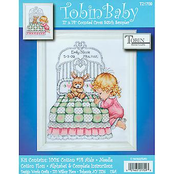 Bedtime Prayer Girl Birth Record Counted Cross Stitch Kit-11