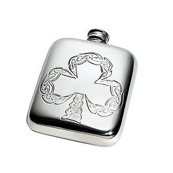 Celtic Shamrock Embossed Pewter Pocket Flask - 4oz