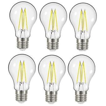 6 X Energizer 8W = 75W LED Filament GLS Light Bulb Lamp Vintage ES E27 Clear Edison Screw [Energy Class A+]