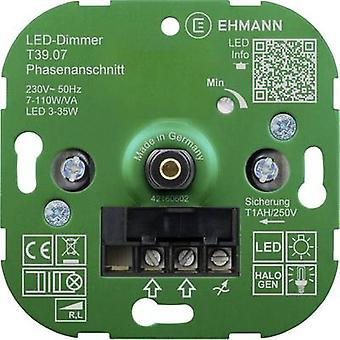 Ehmann 3900x0700 Flush-mount dimmer Suitable for light bulbs: Energy saving bulb, LED bulb, Halogen lamp, Light bulb