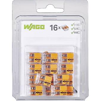 WAGO 221-412/996-016 Connector clip flexible: 0.14-4 mm² rigid: 0.2-4 mm² Number of pins: 2 16 pc(s) Transparent, Orange