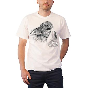 Star Wars T Shirt The Last Jedi Chewbacca & Porg new Official Mens White