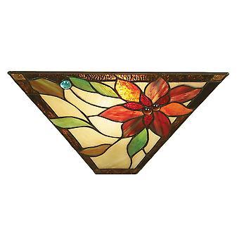 Interiors 1900 Lelani Single Wall Washer Tiffany-Lampe mit rotem Blumenmuster