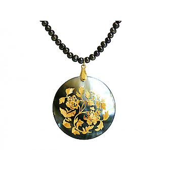 Gemshine - dames halsketting - hanger - medaillon - parels - moeder van de parel - goud vergulde 5 cm - grijze Tahiti--