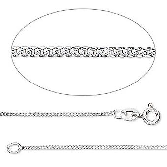 GEMSHINE 14 k 585 white gold necklace. 1.4 mm curb chain in a classic design with lengths from 40 to 61 cm
