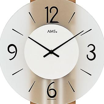 AMS 7263 wall clock quartz with pendulum wooden rear wall core beech veneered mineral glass