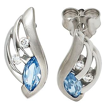 Earrings 925 sterling silver rhodium plated Silver Earring partly Matted with cubic zirconia blue