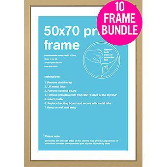 GB Posters 10 Oak MDF Poster Frames 50 x 70cm Bundle