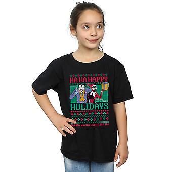 DC Comics Girls Joker and Harley Quinn Ha Ha Happy Holidays T-Shirt