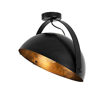 QAZQA Modern Round Ceiling Lamp Rotatable Black and Gold 35cm - Magna
