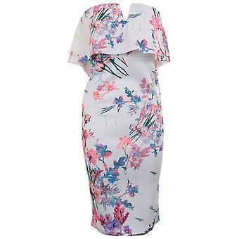 Dames Floral V-hals uit schouder Bardot franje Ruffle knie lengte Bodycon jurk