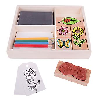 Bigjigs Toys Garden Stamp and Colour Set with Ink Pads Kids Arts Crafts