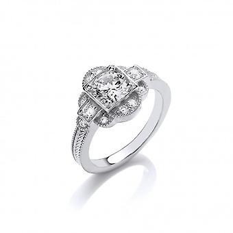 Cavendish francés deliciosamente Deco plata y CZ anillo