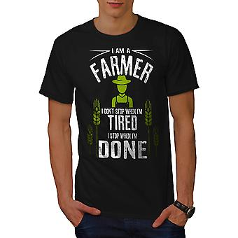 Farmer Job I Stop Men BlackT-shirt | Wellcoda