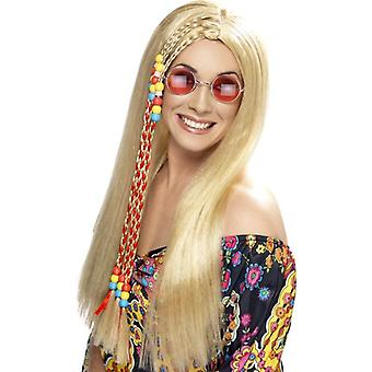 Long Blonde Straight Wig, Hippy Party Wig, 1960's With Coloured Beads