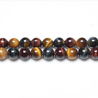 Packet 8 x Mixed Tiger Eye 6mm Plain Round Beads VP1685