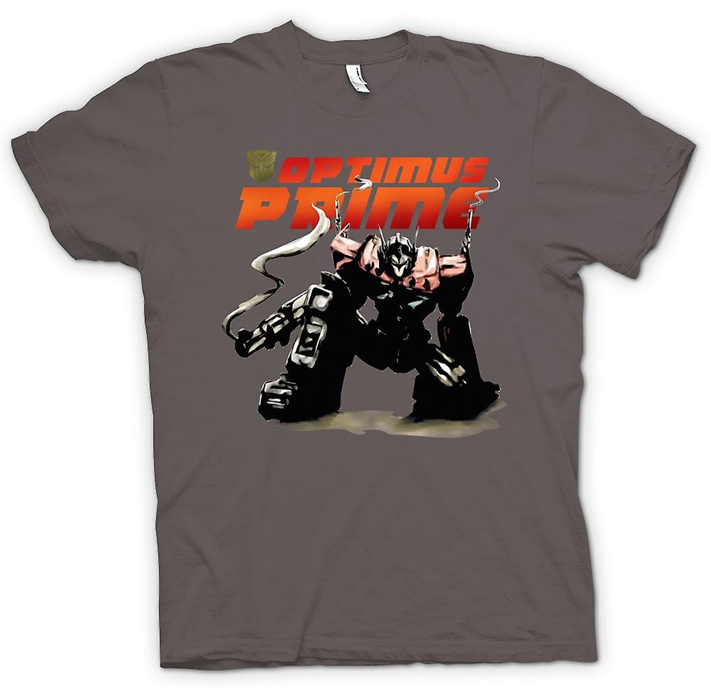 T-shirt-Transformers Optimus Prime che si accovaccia