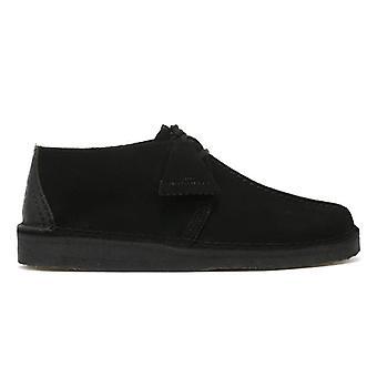 Clarks Desert Trek Mens Black Suede Shoes