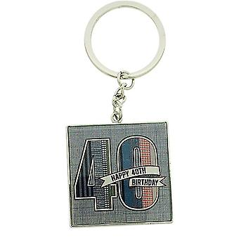 Gents LD Design Denim Collection 40th Birthday Keyring In Presentation gift Box
