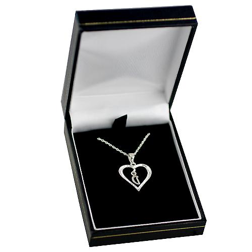 Silver 18x18mm initial D in a heart with rolo chain