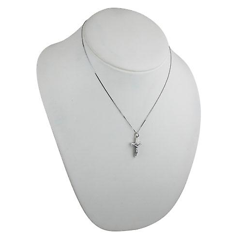 9ct White Gold 25x15mm solid block Crucifix Cross with a curb Chain 18 inches