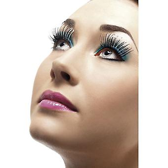 Womens Silver Holographic False Eyelashes With Glue Fancy Dress Accessory
