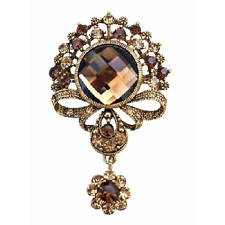 Gold Plated Casting Briesmaides Copper Gold Dangling Brooch Pin