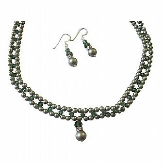 Powder Almond Green Tumarine Green Crystals Handmade Jewelry Necklace